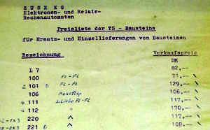 Preisliste der TS-Bausteine.